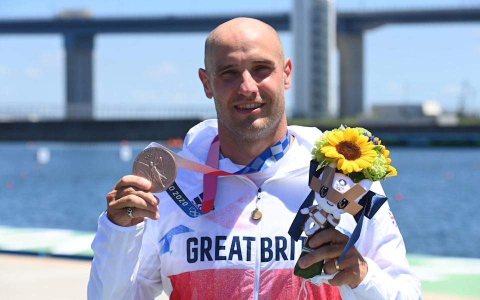 Liam Heath shows off his bronze medal - PAUL GROVER FOR THE TELEGRAPH