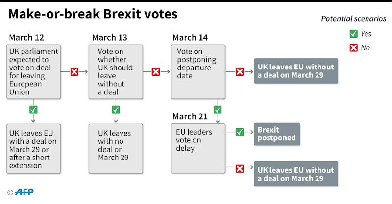 Timeline of what could happen next in the make-or-break Brexit votes (AFP Photo/Gal ROMA)