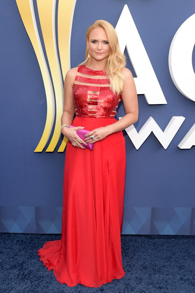 <p>Miranda Lambert picked up three awards at the ACM Awards, including Song of the Year. This brings Lambert's total to a whopping 30 ACM Awards, more than any other artist in country music history. The Queen of Country wore red a sequined Georges Chakra gown with cutout detailing for the occasion. Bow down, y'all. </p>