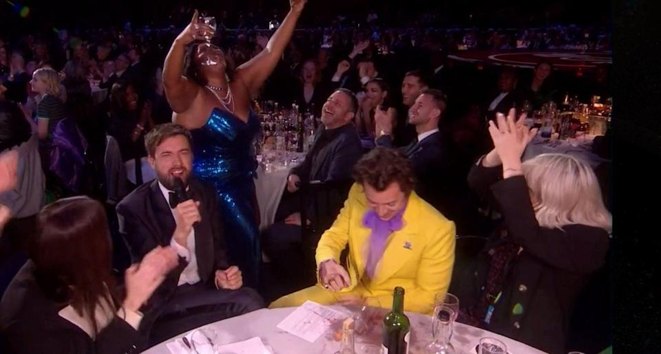 Harry Styles, Lizzo and Jack Whitehall had a LOT of fun during the Brits (Photo: ITV)