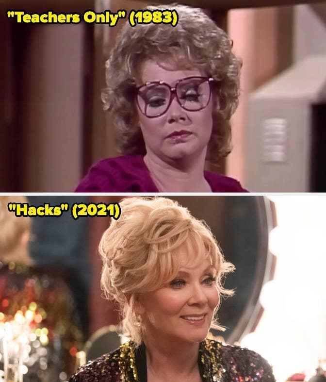 Then: She starred as Shari on Teachers Only.Now: She won the Emmy forOutstanding Lead Actress in a Comedy Series for her portrayal of Deborah Vance on Hacks.
