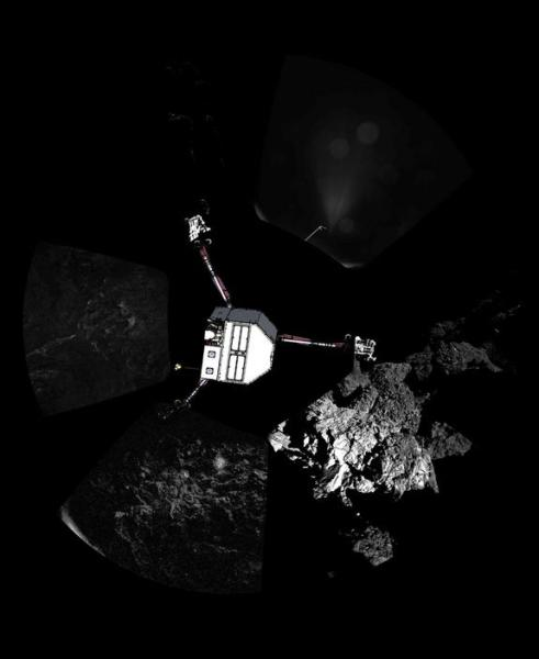 The European Space Agency's Philae lander took this first panorama from the surface of Comet 67P/Churyumov–Gerasimenko after its historic landing on Nov. 12, 2014. The body of the lander is superimposed on the image.