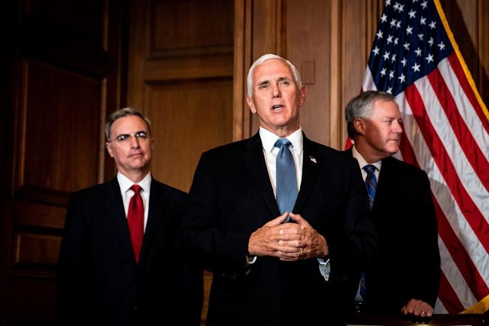 Pat Cipollone, Mike Pence and Mark Meadows