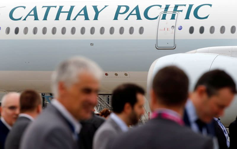 A passenger plane of Cathay Pacific Airways parks at the airport in Colomiers near Toulouse, France