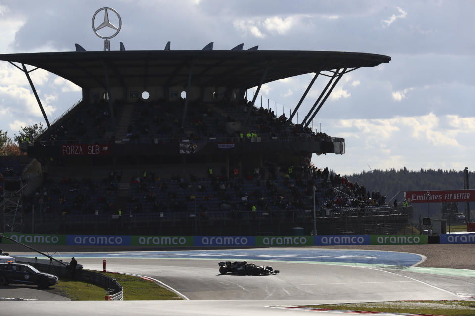 Mercedes driver Valtteri Bottas of Finland steers his car during the qualifying session for the Eifel Formula One Grand Prix at the Nuerburgring racetrack in Nuerburg, Germany, Saturday, Oct. 10, 2020. The Germany F1 Grand Prix will be held on Sunday. (AP Photo/Matthias Schrader, Pool)