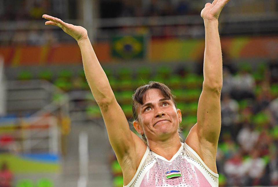 Oksana Chusovitina competes during the women's vault finals in the 2016 Rio Summer Olympic Games.