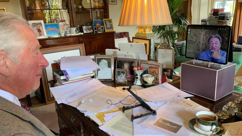 The prince shared a picture from his side of the desk on Classic FM. (Clarence House/Global)