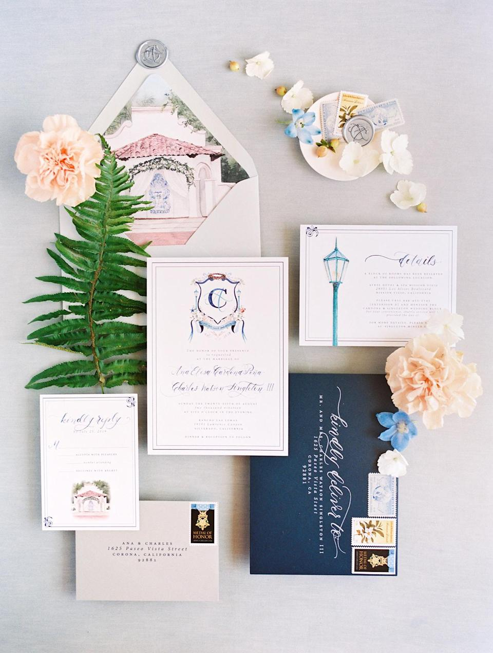 """<p>The couple's invitation suite, created by watercolor artist and calligrapher <a href=""""https://camimonet.com/"""" rel=""""nofollow noopener"""" target=""""_blank"""" data-ylk=""""slk:Cami Monet"""" class=""""link rapid-noclick-resp"""">Cami Monet</a>, featured an immediate nod to their venue, <a href=""""https://www.rancholaslomas.com/"""" rel=""""nofollow noopener"""" target=""""_blank"""" data-ylk=""""slk:Rancho Las Lomas"""" class=""""link rapid-noclick-resp"""">Rancho Las Lomas</a>—an illustration depicting the arch, under which Ana and Charles would eventually exchange vows, was splashed across the envelope liner. Another personal touch? The custom monogram that Cami designed specifically for the couple. """"She created and painted our family crest based on our love story,"""" says Ana. """"This became the creative center for the rest of the wedding details.""""</p>"""