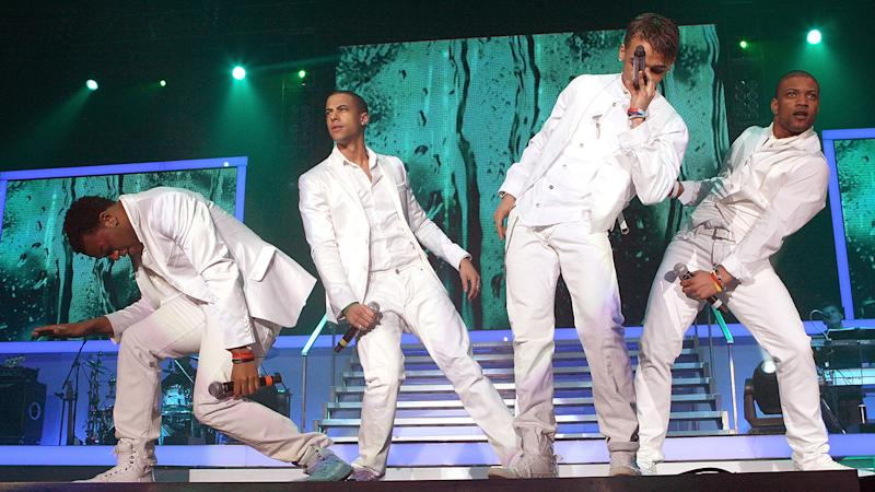 JB Gill performing with JLS on The X Factor tour back in 2009