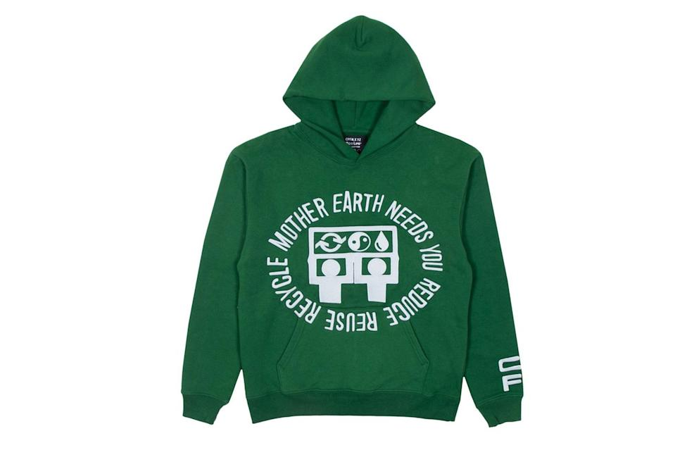 """$220, Union. <a href=""""https://store.unionlosangeles.com/products/cpfm-x-eco-mother-earth-hooded-sweatshirt?nosto=collectionpage-nosto-1&variant=33176811569229"""" rel=""""nofollow noopener"""" target=""""_blank"""" data-ylk=""""slk:Get it now!"""" class=""""link rapid-noclick-resp"""">Get it now!</a>"""