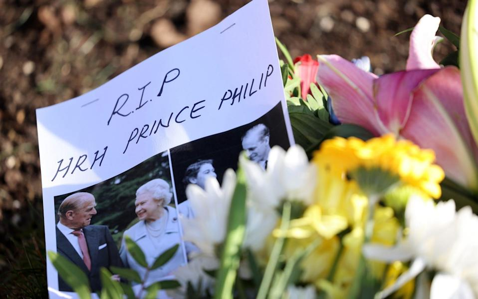 A message of condolence on flowers left outside of Windsor Castle on April 11, 2021 in Windsor, England - Chris Jackson