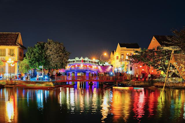 Japanese covered bridge on Thu Bon River in Hoi An, Vietnam. Late in the evening