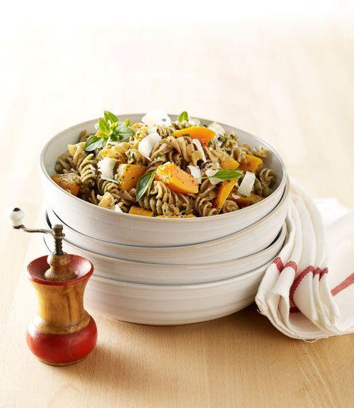 """<p>This quick and easy pasta dish blends the sweetness of butternut squash with pesto's earthy flavor. Use packaged squash, and it will take almost no time to prepare.</p><p><a href=""""https://www.goodhousekeeping.com/food-recipes/a13664/butternut-squash-pesto-rotini-recipe-ghk1012/"""" rel=""""nofollow noopener"""" target=""""_blank"""" data-ylk=""""slk:Get the recipe for Butternut Squash and Pesto Rotini »"""" class=""""link rapid-noclick-resp""""><em>Get the recipe for Butternut Squash and Pesto Rotini »</em></a></p>"""