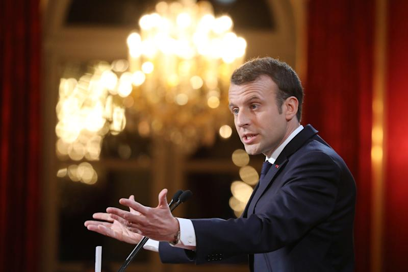 French President Emmanuel Macron delivers his New Year speech to members of the press at the Elysee Palace in Paris on January 3, 2018. (Reuters)