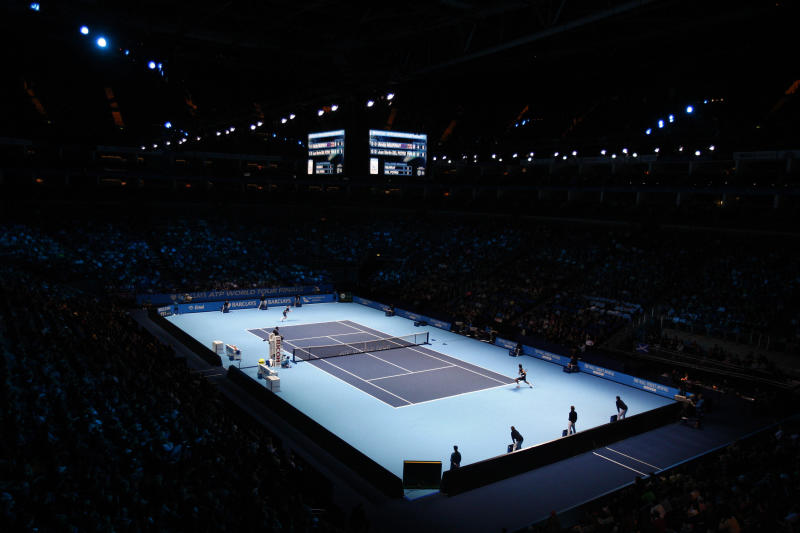 FILE - This Sunday Nov. 22, 2009 file photo shows a view of the stadium as Britain's Andy Murray plays his tennis match against Argentina's Juan Martin Del Potro during the ATP World Tour Finals at the O2 Arena in London. The ATP Finals is moving to the Italian city of Turin in 2021, the ATP is expected to announce the move Wednesday April 24, 2019. (AP Photo/Kirsty Wigglesworth, File)
