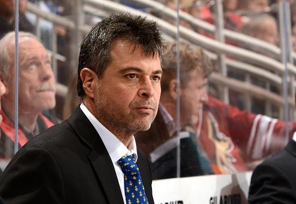 GLENDALE, AZ - JANUARY 07: Head coach Jack Capuano of the New York Islanders looks on from the bench against the Arizona Coyotes at Gila River Arena on January 7, 2017 in Glendale, Arizona. (Photo by Norm Hall/NHLI via Getty Images)