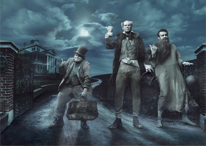 """This photo illustration released Wednesday, Aug. 1, 2012, by Disney Parks shows from left, Jack Black, Will Ferrell and Jason Segel as the comically spooky hitchhiking ghosts from the landmark Disney theme park attraction the Haunted Mansion, as part of the Disney Dream Portrait series by photographer Annie Leibovitz. The portrait series features celebrities set in Disney fantasy settings. The images will be used as a special insert in fall issues of """"GQ,"""" """"O – The Oprah Magazine,"""" """"People,"""" """"People En Español,"""" """"Vanity Fair,"""" """"Real Simple,"""" """"Essence,"""" and """"InStyle,"""" to promote Disney theme parks. (AP Photo/Annie Leibovitz for Disney Parks/Disney Parks.com)"""
