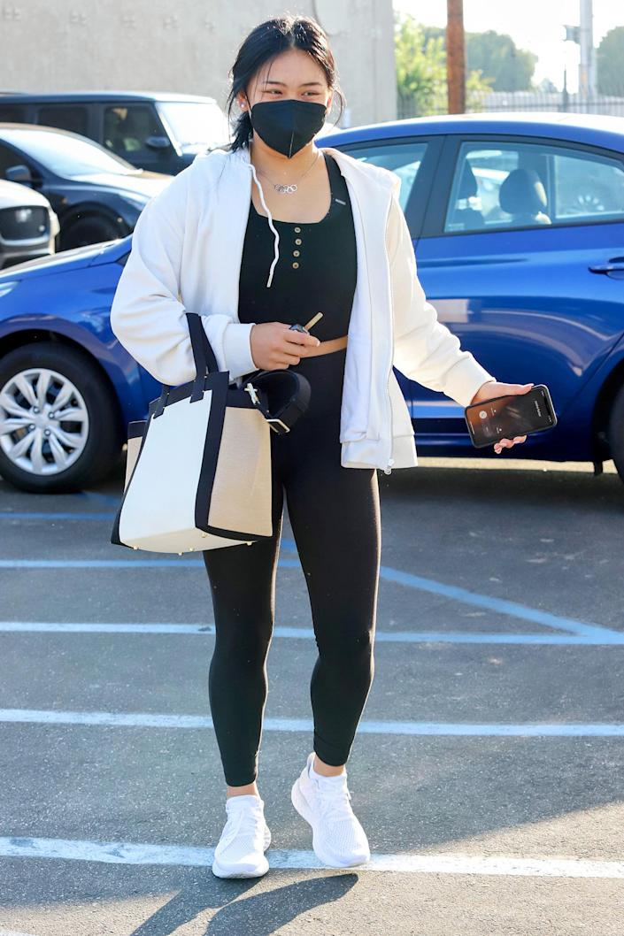 <p>Olympic gold medalist Suni Lee arrives for rehearsals at the <em>Dancing with the Stars</em> studios in L.A. on Sept. 8.</p>