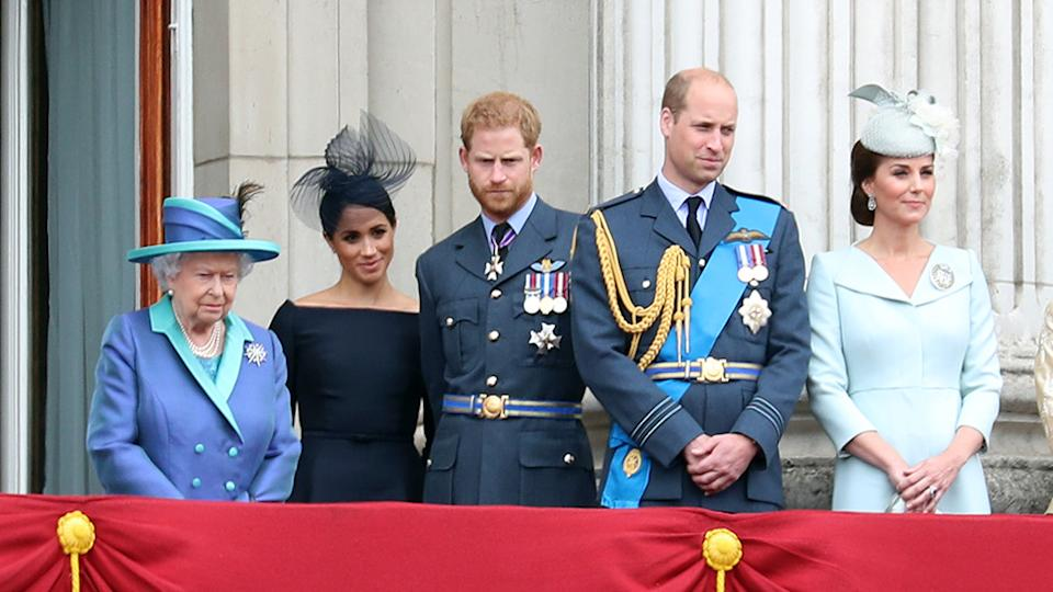 Prince William and Kate Middleton, Meghan Markle, Prince Harry and the Queen on the Buckingham Palace balcony
