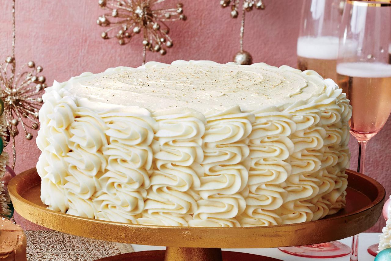 """<p><b>Recipe: <a href=""""https://www.southernliving.com/recipes/eggnog-spice-cake-bourbon-custard-filling-eggnog-buttercream-frosting-recipe"""">Eggnog Spice Cake with Bourbon Custard Filling and Eggnog Buttercream</a></b></p> <p>This boozy, four-layer cake has dressy holiday dinner party written all over it.</p>"""