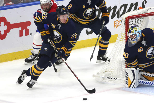 "<a class=""link rapid-noclick-resp"" href=""/nhl/players/7899/"" data-ylk=""slk:Rasmus Dahlin"">Rasmus Dahlin</a> has been a key part to the Sabres' resurgent season and should see a lot of action on the ice this week. (AP Photo/Jeffrey T. Barnes)"
