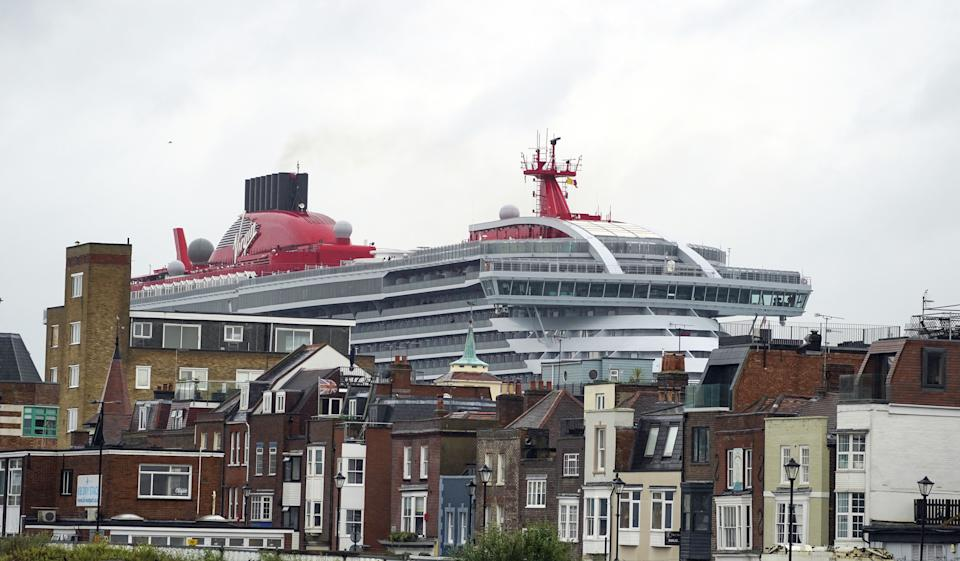 Virgin Voyage's luxury cruise ship Scarlet Lady arrives into Portsmouth for the first time. The 110,000-tonne liner is the largest ship to have ever docked in the city, bigger than both of the Royal Navy's aircraft carriers (pa)