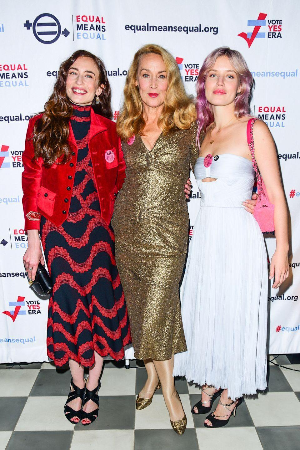 <p>Georgia May and Elizabeth Jagger share their famous mother Jerry Hall's height and wide jawline. </p><p>Georgia May is a supermodel, with runway credentials walking for the likes of Ashley Williams and Marc Jacobs while Elizabeth is a lobyist, model and actress. <br></p>