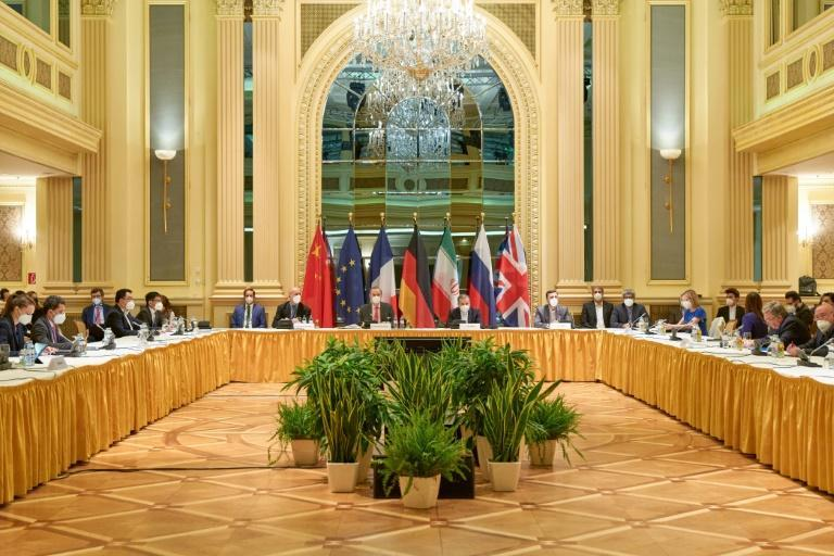 Delegation members from the parties to the Iran nuclear deal -- Germany, France, Britain, China, Russia and Iran -- attend a meeting at the Grand Hotel of Vienna