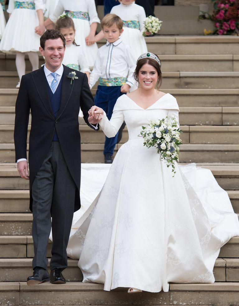 "<p><a href=""https://www.townandcountrymag.com/style/fashion-trends/a22463719/princess-eugenie-wedding-dress/"" rel=""nofollow noopener"" target=""_blank"" data-ylk=""slk:Princess Eugenie wore a gown"" class=""link rapid-noclick-resp"">Princess Eugenie wore a gown</a> designed by Peter Pilotto and Christopher De Vos <a href=""https://www.townandcountrymag.com/style/fashion-trends/a23697377/princess-eugenie-kate-middleton-royal-wedding-dress-comparison/"" rel=""nofollow noopener"" target=""_blank"" data-ylk=""slk:on her wedding day."" class=""link rapid-noclick-resp"">on her wedding day.</a> The fabric of the dress includes a number of symbols that are important to Eugenie, that were woven into the silk, cotton and viscose blend fabric through a highly intricate weaving technique. The gown's low back was an essential component for the bride: Eugenie requested to show her back after having surgery to correct scoliosis when she was 12.<br></p>"