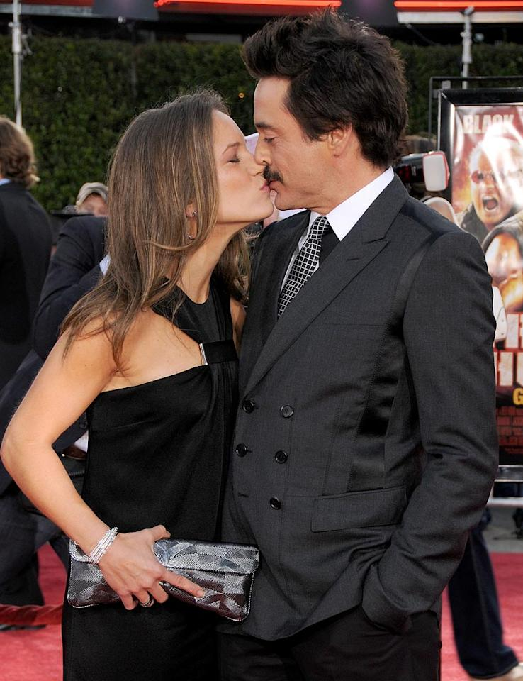 "Robert Downey Jr. better be careful. That mustache of his could easily wipe the gloss right off his wife's lips! Gregg DeGuire/<a href=""http://www.wireimage.com"" target=""new"">WireImage.com</a> - August 11, 2008"