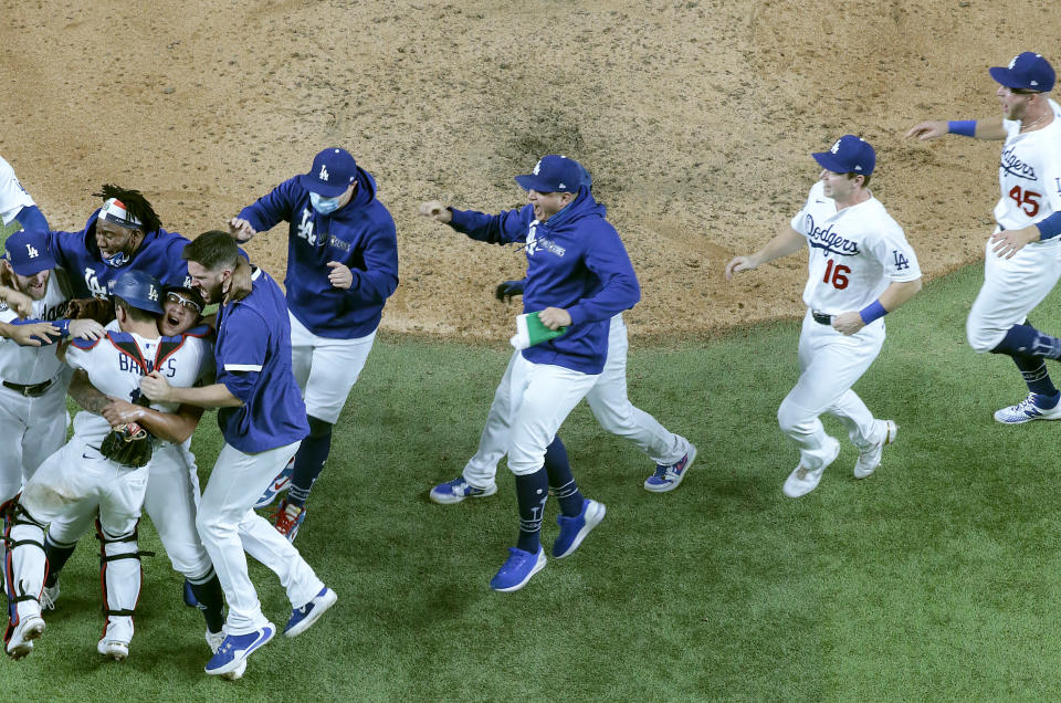 Arlington, Texas,  Tuesday, October 27, 2020 Dodgers celebrate after winning the World Series at Globe Life Field. (Photo by Robert Gauthier/ Los Angeles Times via Getty Images)