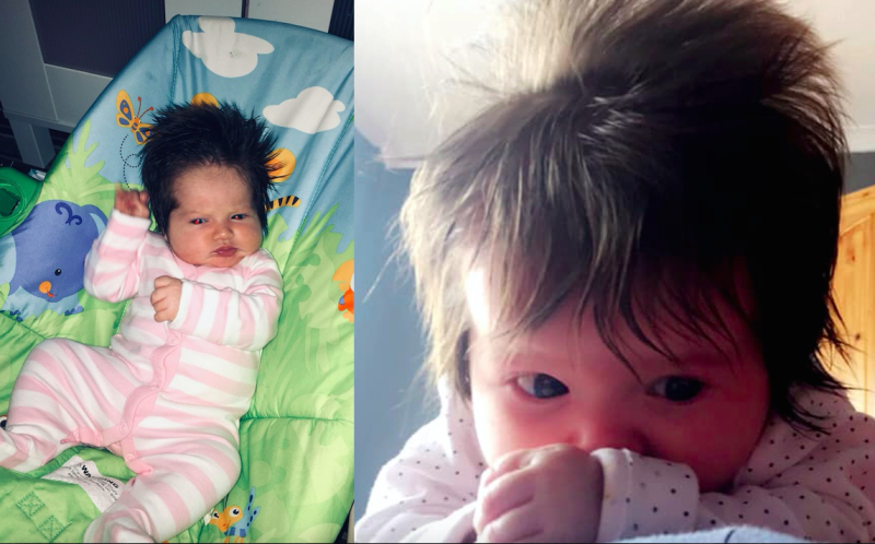 Little Maya was born with an incredible head of hair. (PA Real Life/Collect)