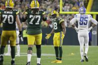 Green Bay Packers' Randall Cobb reacts to a play during the second half of an NFL football game against the Detroit Lions Monday, Sept. 20, 2021, in Green Bay, Wis. (AP Photo/Mike Roemer)