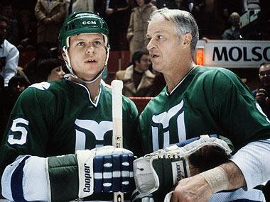 Gordie Howe (R) played with sons Mark (L) and Marty in the WHA and with Hartford in the NHL in 1979-80