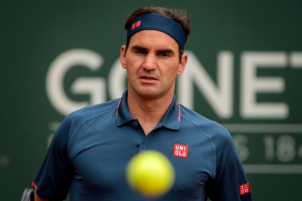 Roger Federer eyes the ball as he reacts during his ATP 250 Geneva Open.