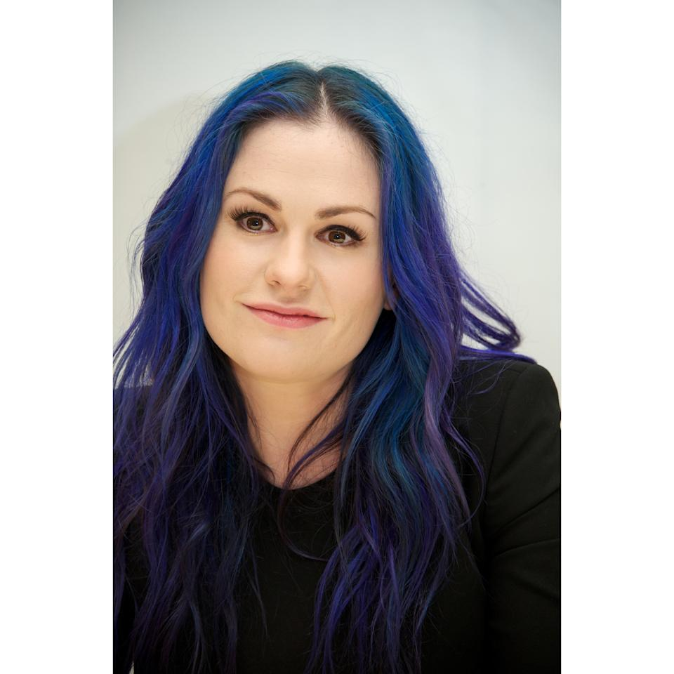 <p>Royal blue roots have nothing on the periwinkle balayage bits that are woven throughout.</p>