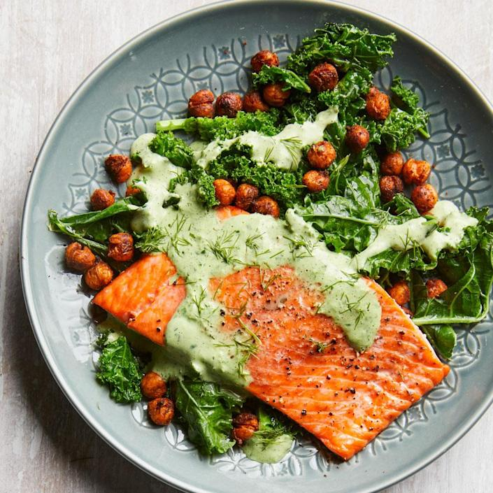 <p>In this healthy salmon dinner, you'll get a dose of greens and green dressing! Chowing down on 6 or more servings of dark leafy greens a week can help keep your brain in top shape. This dish features the Test Kitchen's current go-to method for doctoring a can of chickpeas: spice them up and roast until crispy.</p>