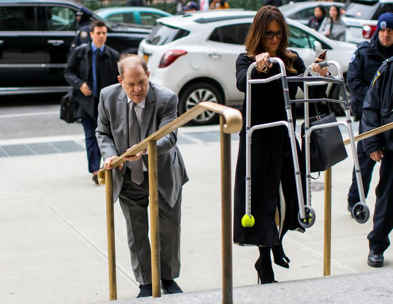 Film producer Harvey Weinstein arrives to the New York Criminal Court after a break for his sexual assault trial in the Manhattan borough of New York City