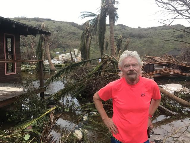 Branson in Puerto Rico on Sept. 11, 2017. (Photo: Richard Branson via Twitter)