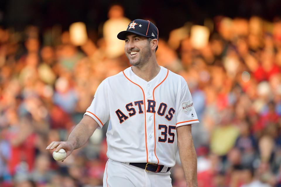 CLEVELAND, OHIO - JULY 09: Justin Verlander #35 of the Houston Astros and the American League reacts during the 2019 MLB All-Star Game, presented by Mastercard at Progressive Field on July 09, 2019 in Cleveland, Ohio. (Photo by Jason Miller/Getty Images)