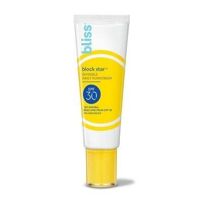 <p>Our editors love this <span>Bliss Block Star Invisible Daily Sunscreen</span> ($24). It's a great option if you have oilier skin.</p>