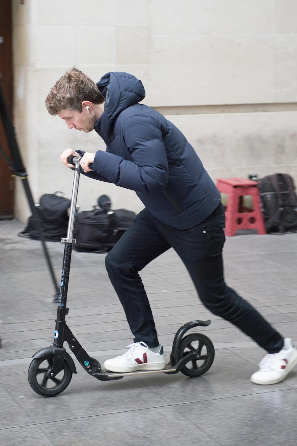 LONDON, ENGLAND - FEBRUARY 09: Matt Edmondson leaves BBC Broadcasting House after his radio show on a scooter on February 9th 2020 in London, United Kingdom. (Photo by Ollie Millington/Getty Images)