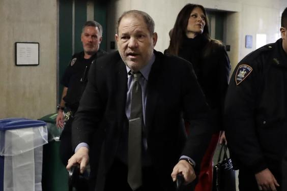 Harvey Weinstein arrives at court for his criminal trial in New York on Friday, 7 February 2020. (AP Photo/Richard Drew)