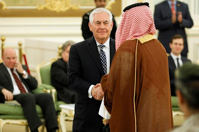 <p>Secretary of State Rex Tillerson (C) attends a signing ceremony between President Donald Trump and Saudi Arabia's King Salman bin Abdulaziz Al Saud (not pictured) at the Royal Court in Riyadh, Saudi Arabia on May 20, 2017. (Photo: Jonathan Ernst/Reuters) </p>