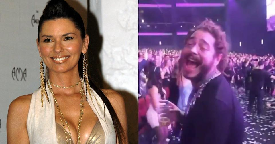 Shania Twain at the 2001 AMAs, when Post Malone was age 6; Post at the 2019 AMAs watching Twain perform. (Photos: Getty/Twitter)