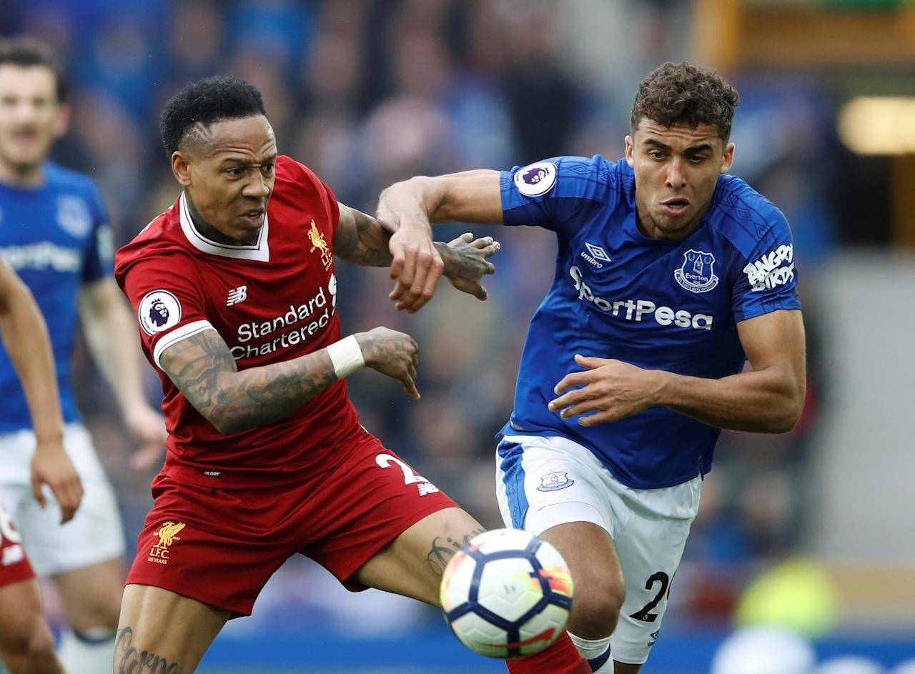 <p>Everton's Dominic Calvert-Lewin moves away from Nathaniel Clyne </p>