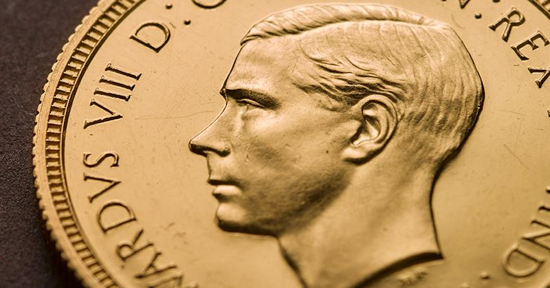 The Royal Mint's photo of a rare Edward VIII Sovereign coin, featuring the Queen's uncle before he abdicated, which has been bought for £1 million, setting a new record for the sale of a British coin. Photo: PA/Royal Mint
