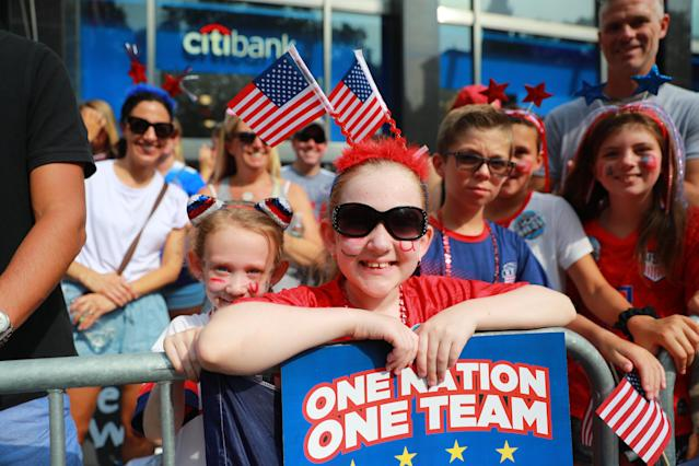 Fans turn out to honor the U.S. women's soccer team for a ticker tape parade along the Canyon of Heroes, Wednesday, July 10, 2019, in New York. (Photo: Gordon Donovan/Yahoo News)