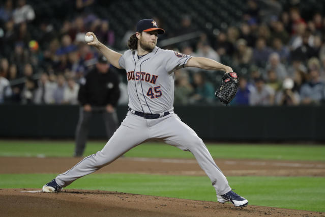 Houston Astros starting pitcher Gerrit Cole throws during the first inning of the team's baseball game against the Seattle Mariners, Tuesday, Sept. 24, 2019, in Seattle. (AP Photo/Ted S. Warren)