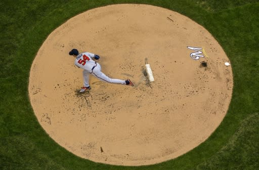 Atlanta Braves starting pitcher Max Fried throws during the first inning of a baseball game against the Milwaukee Brewers Monday, July 15, 2019, in Milwaukee. (AP Photo/Morry Gash)
